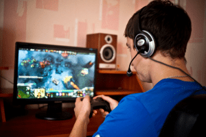 A typical gamer playing at a computer