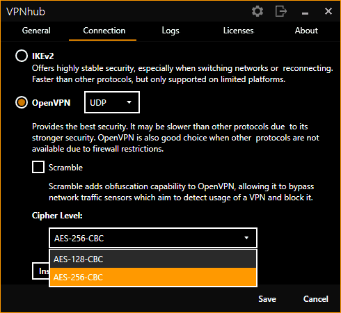 VPNhub's Connection Settings