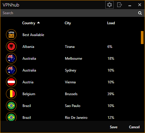 VPNhub's Country List