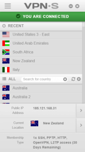 The list of available countries with VPNSecure