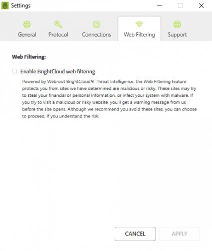 VPN web filtering settings