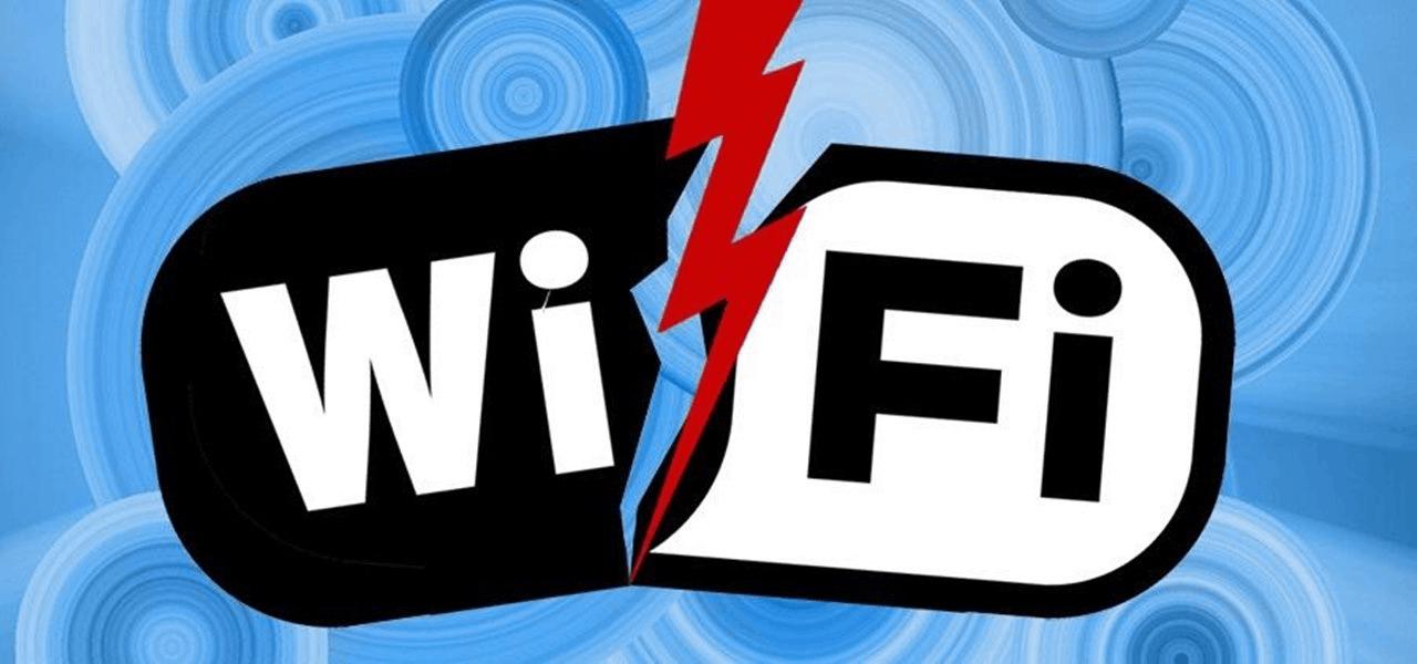 An image of a lightning strucking the Wi-Fi logo