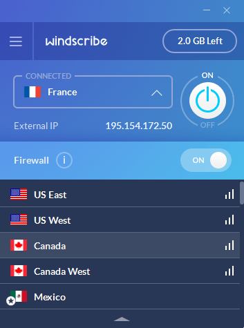 Winscribe client country selection