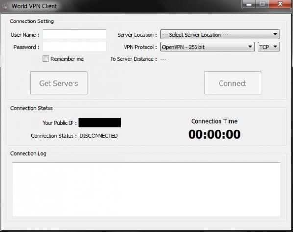 Windows client running WorldVPN