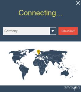 The main interface for ZenVPN
